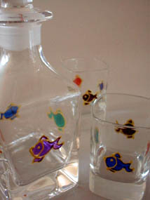 Mini decanter and shot glasses - fishes