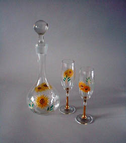 Decanter sunflower and Donna flute glasses